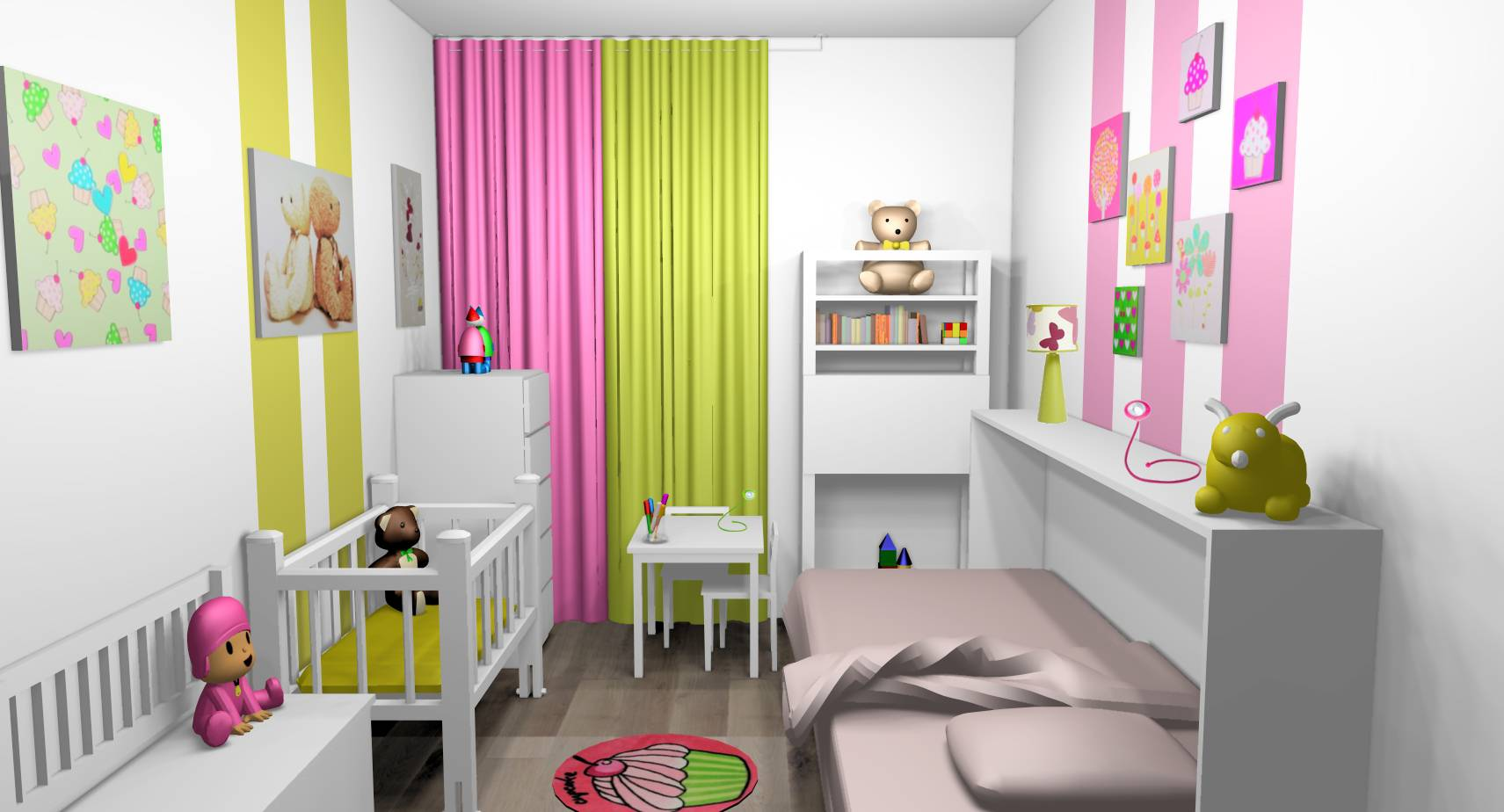 d coration d 39 int rieur d 39 une chambre de petite fille et. Black Bedroom Furniture Sets. Home Design Ideas