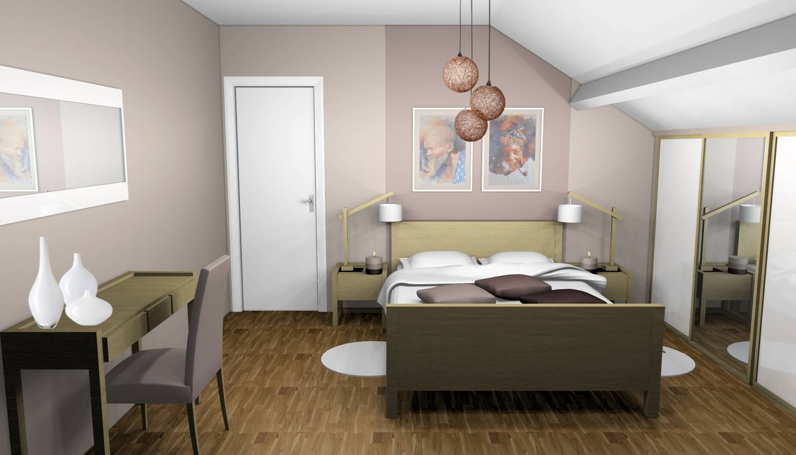 Chambre taupe zen touches blanches
