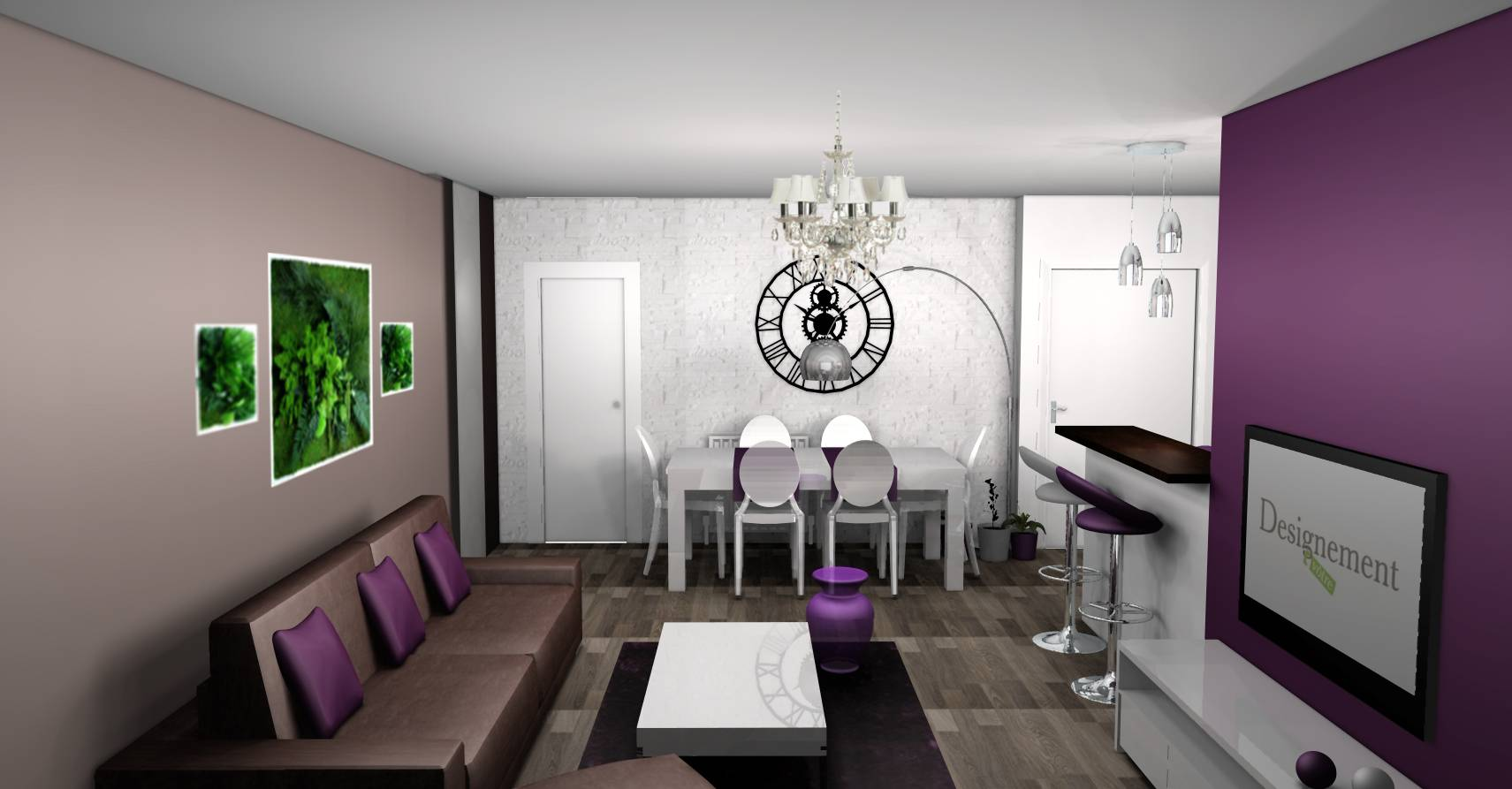 Deco salon noir blanc violet for Deco salon violet et gris