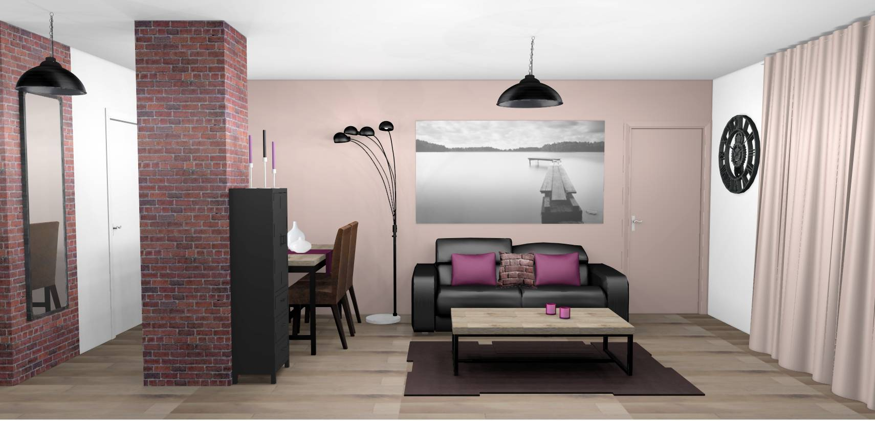 Chambre wenge et taupe for Decoration salon prune