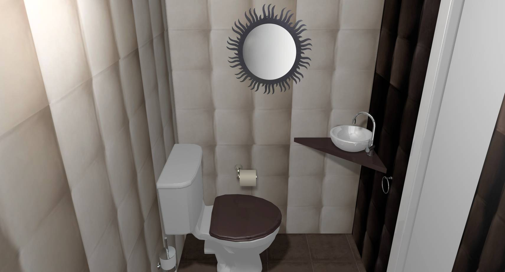 WC illusion capitons beige chocolat lave-mains