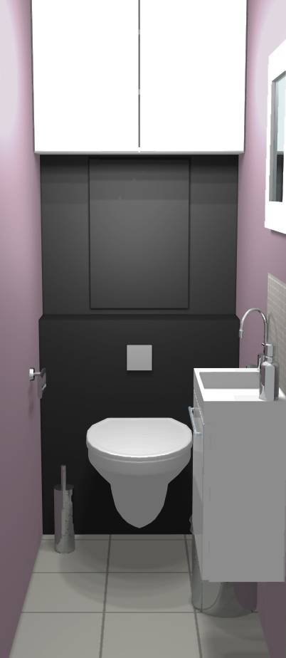 Decoration wc gris et blanc for Decoration wc suspendu