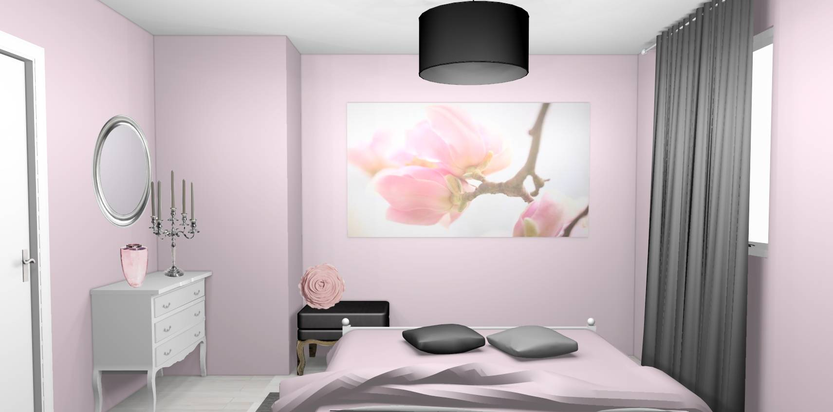 tapisserie chambre rose et gris avec des. Black Bedroom Furniture Sets. Home Design Ideas