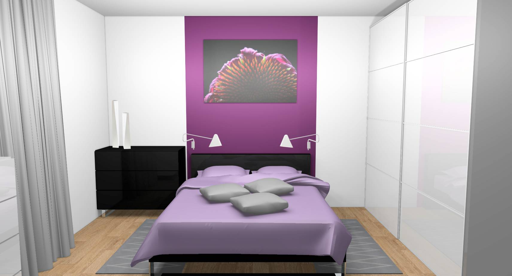 gallery of dcoration duintrieur duune chambre with peinture chambre violet. Black Bedroom Furniture Sets. Home Design Ideas