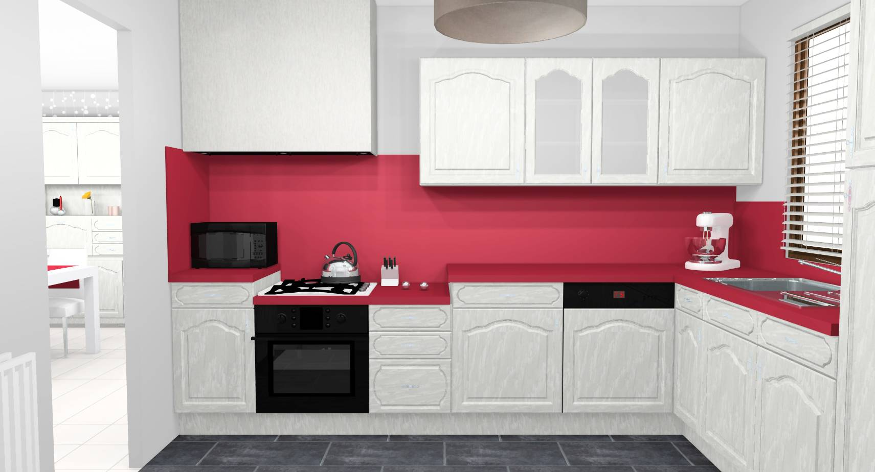 Cuisine campagne chic modernisee meubles peints ceruses rouge gris 1.jpg