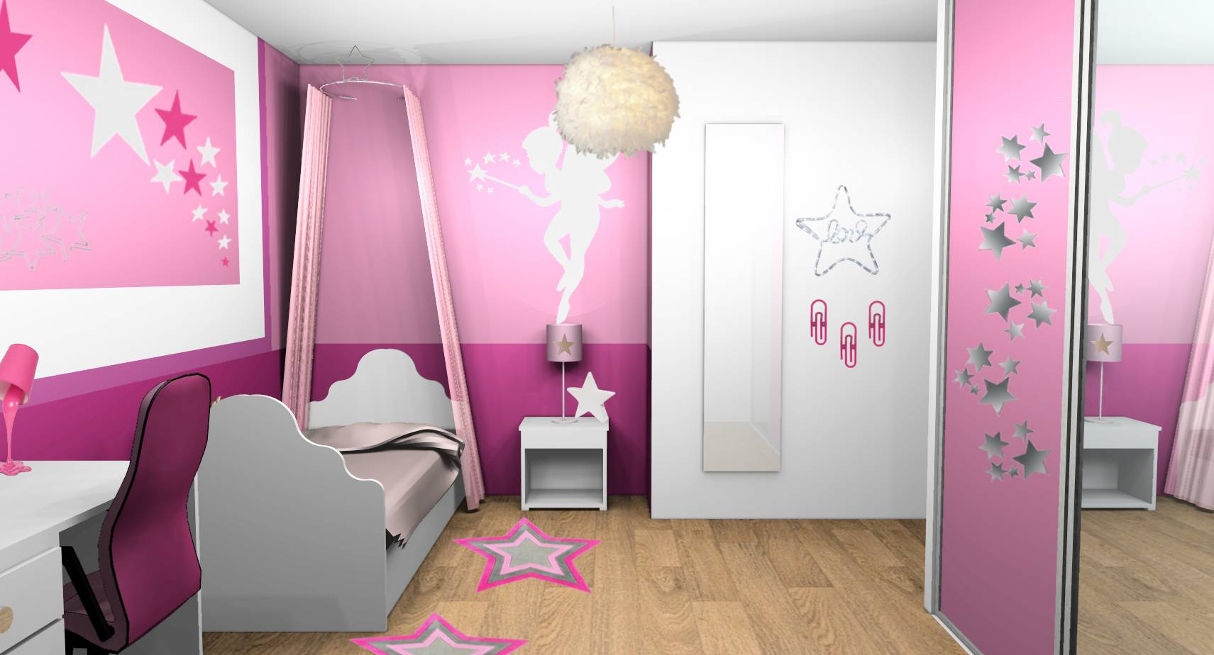 peinture chambre fille rose et blanc. Black Bedroom Furniture Sets. Home Design Ideas
