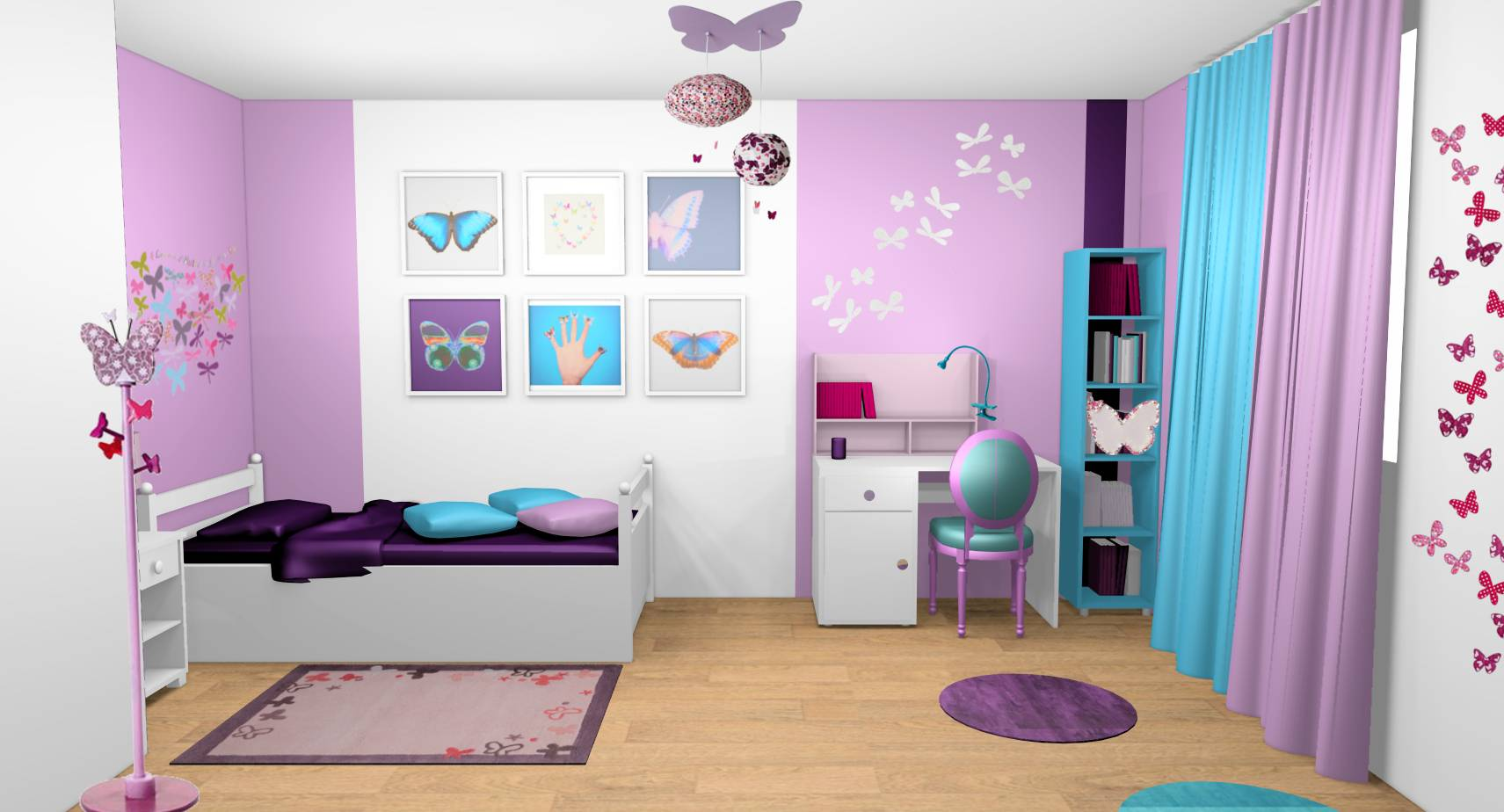 Decoration interieur chambre fille for Peinture design interieur