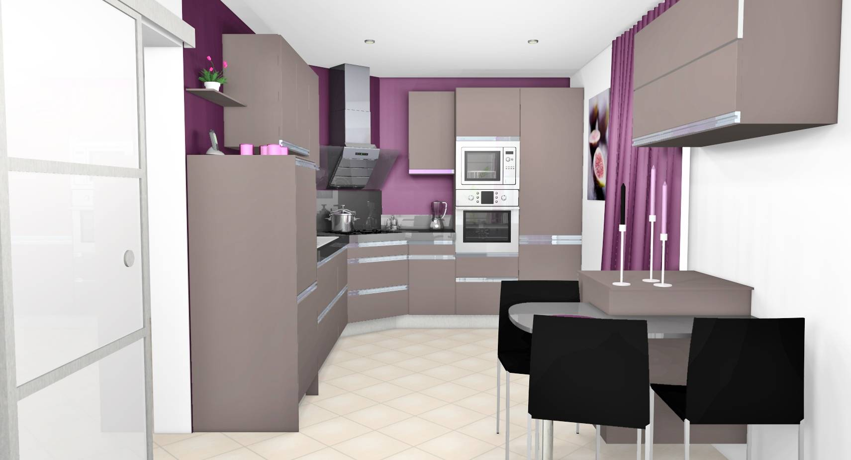 Beautiful chambre beige et prune contemporary lalawgroup for Cuisine design noir
