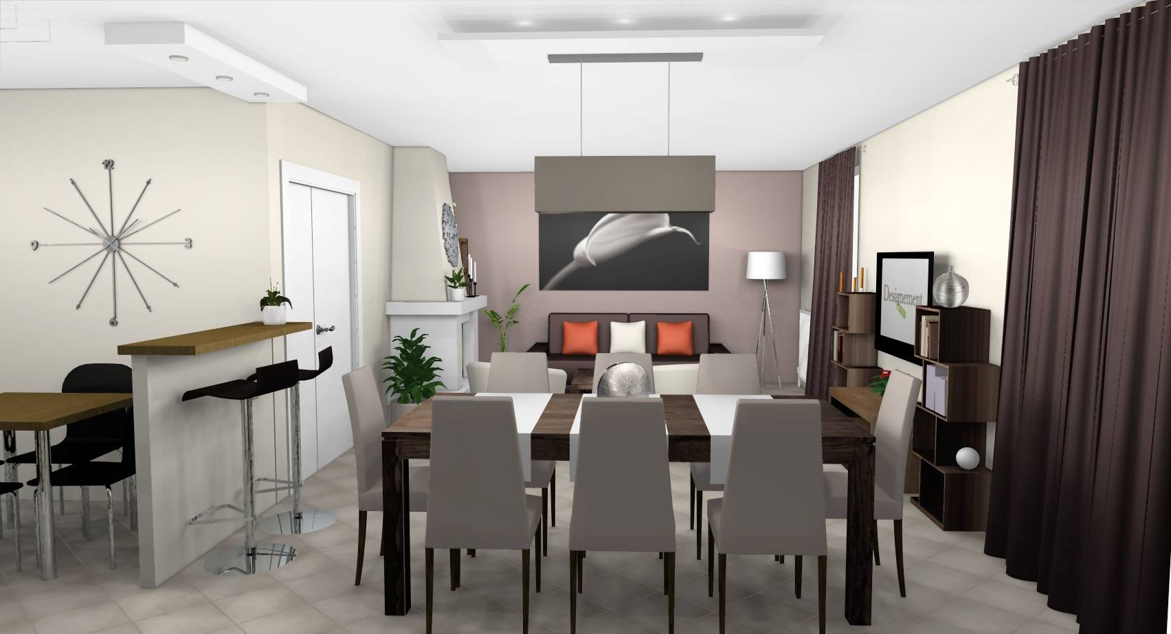Beautiful couleur lin et taupe ideas for Salle a manger taupe