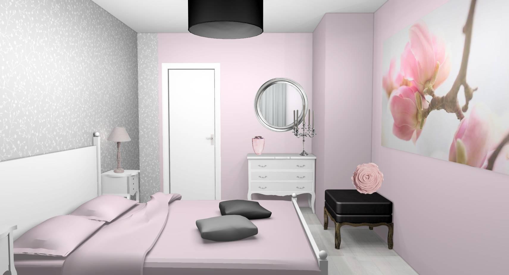 Chambre Gris Blanc Rose décoration d'intérieur d'une chambre à linas (91