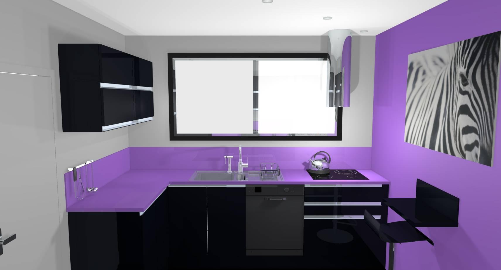 Cuisine Moderne Couleur Violet conception et agencement d'une cuisine haute en couleur à