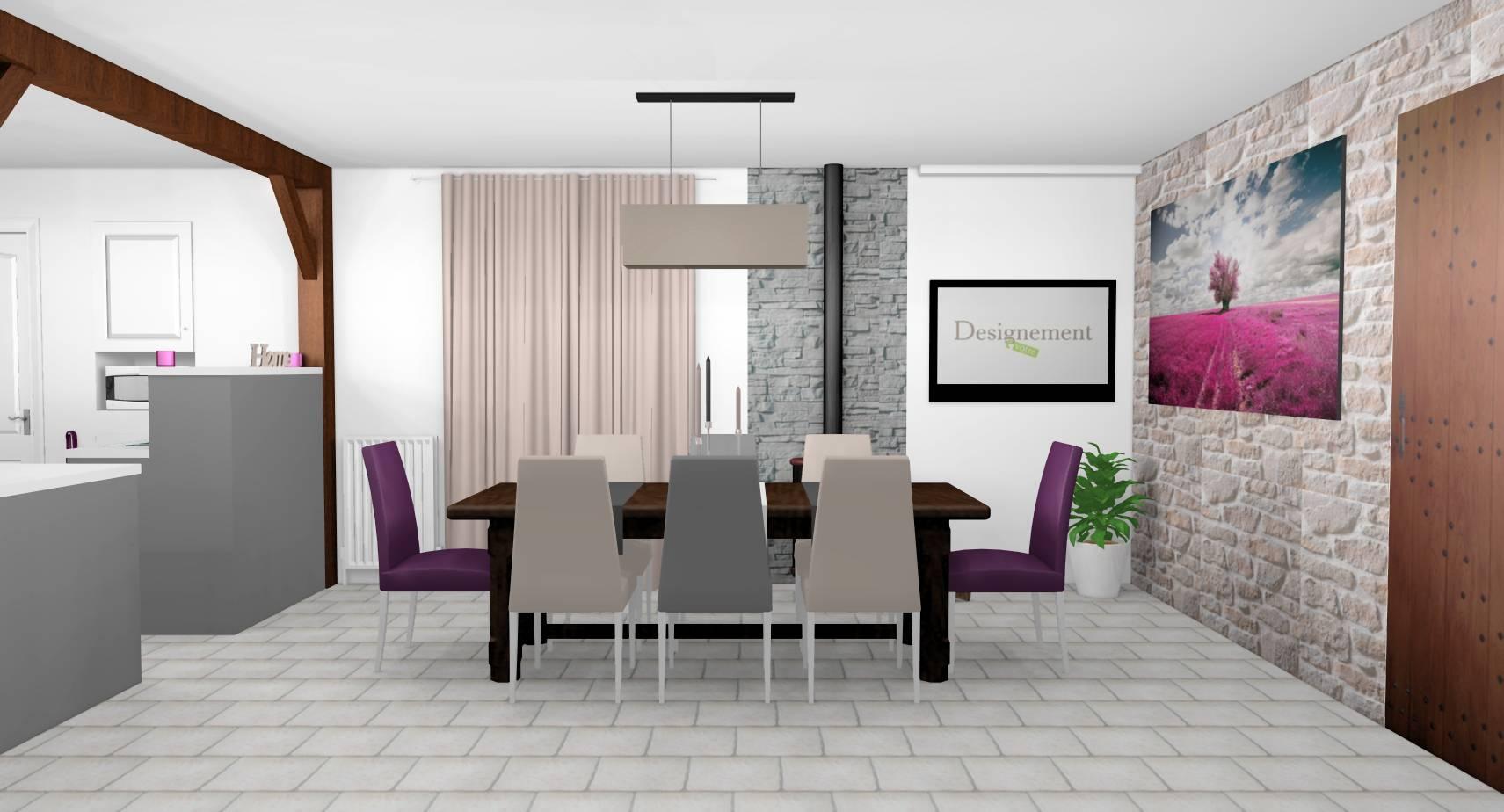 Cuisine Blanc Gris Violet décoration d'intérieur d'une cuisine-salle à manger à