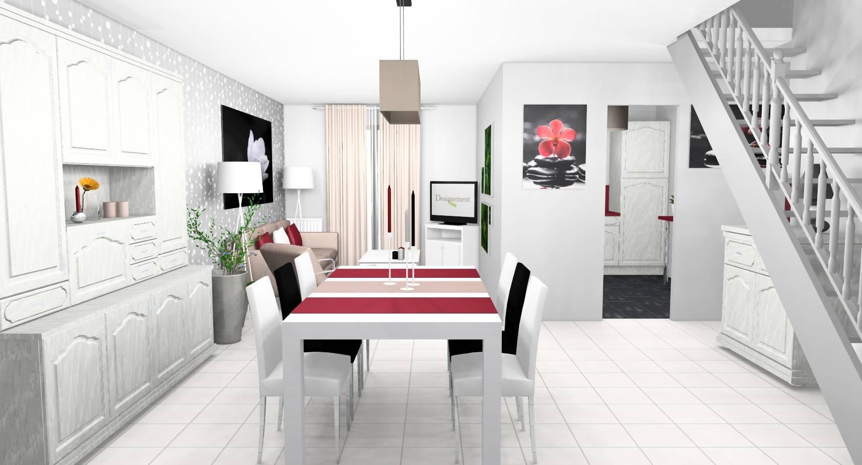 Salle A Manger Gris Blanc Noir décoration d'intérieur d'une pièce de vie à longperrier (77