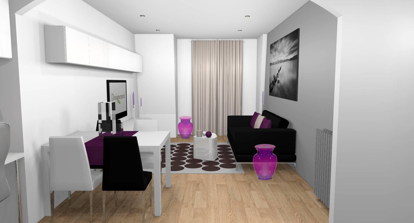 Salle A Manger Gris Blanc Noir décoration d'un appartement 2 pièces acheté à aubervilliers
