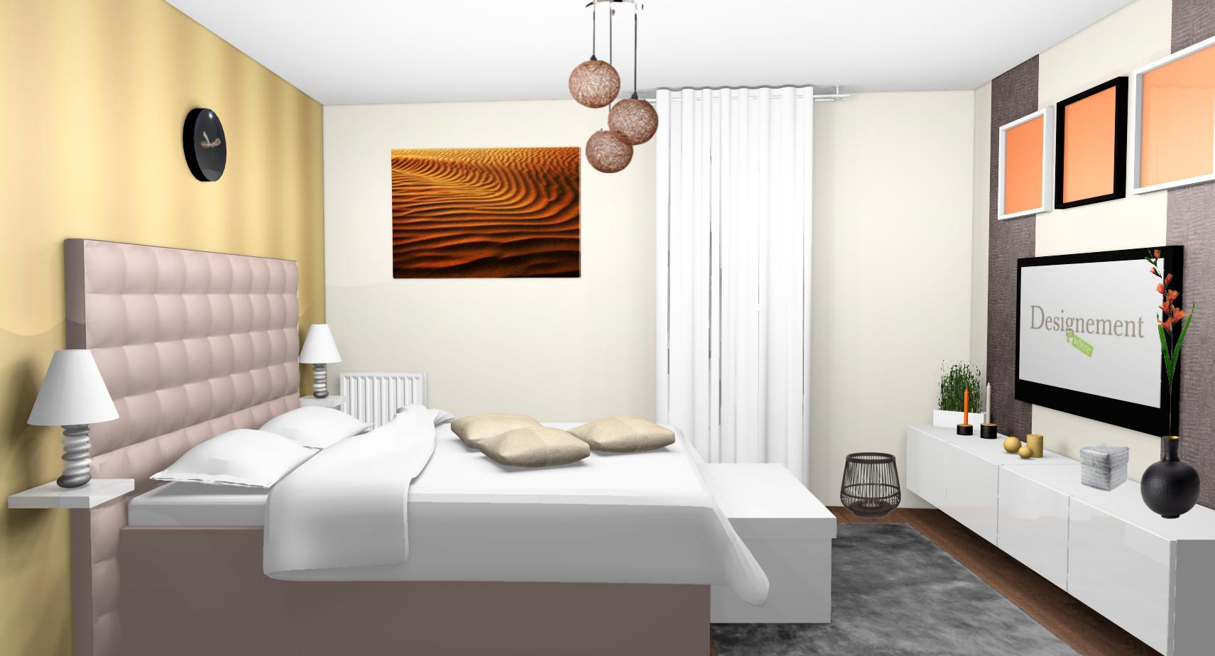 Décoration Chambre Adulte Mur Blanc chambre-adulte-contemporaine-exotique-murs-lin-dore-papier